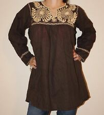 Brown Handmade Rococo Mexican Tunic Blouse Oaxaca 100% Cotton Small