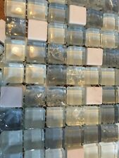 Waxman Accord Ice Cube Blue Glass Marble mosaic Boarder tiles  150x150mm sheet