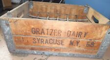 Vintage Milk Crate Gratzer Dairy Syracuse NY 1958 Pint Jug Holder Porch Decor 58