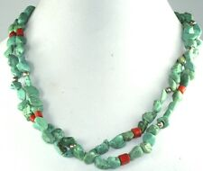 VTG STERLING SILVER CHINESE TURQUOISE CORAL 21 INCH DOUBLE STRAND NECKLACE