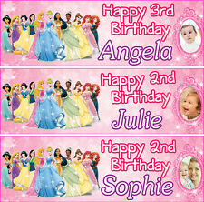 2 x PERSONALISED PRINCESS BIRTHDAY BANNER-1st 2nd 3rd ANY AGE ANY NAME