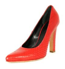 CELINE Amir Lipstick Red Python Skin Pointed-Toe Heels Pumps 37 NEW