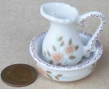 1:12 Scale Victorian Jug & Wash Bowl Dolls House Multicoloured Floral Motif 2377