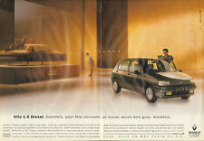 Publicité Advertising 1992 (double page)  RENAULT CLIO 1.9 Diesel