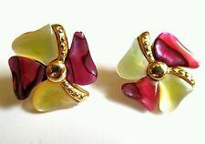 #Vintage #Earrings #Pinwheel Goldtone Dark Pink/red Ivory Mother Of Pearl Post