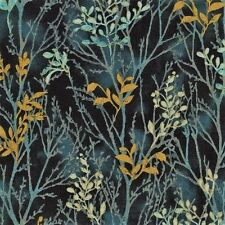 Juniper gold metallic Branches by Timeless Treasures cotton quilting fabric