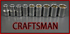 "CRAFTSMAN HAND TOOLS 9pc LOT 1/2"" Dr SAE 6pt ratchet wrench socket set FREE SHIP"