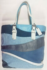 Authentic Coach Signature Suede Wave Patchwork Tote F10652 Blue Gray Leather