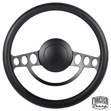 Chevy GM Chevelle Nova 9 Hole Black Vinyl Aluminum Steering Wheel w/ Horn Button