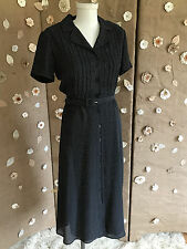 Talbots 1940's Style Polka Dot Belted Shirt Dress SZ 2P Full Skirt Ankle Button