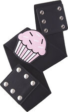 67045 Vintage Cupcake on Wide Black Stretch Belt Sourpuss Pinup Retro X-Large XL