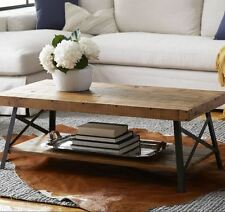 Rustic Coffee Table Reclaimed Solid Wood Farmhouse Industrial Vintage Metal Legs