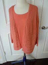 Chico's cardigan with matching tank size 3 L 16/tank size 2 M 12/14 coral color