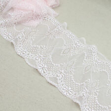 1 Yard Pink Scalloped Stretch Lace Trim Tulle For DIY Craft Lingerie Wide 7 1/4""