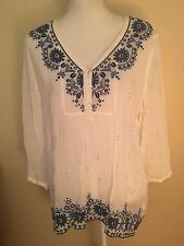 J. JILL Large L White & Blue Long Sleeve Rayon Embroidered Tunic Blouse Top EUC