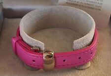 New w TAGS In Box LALIQUE Paris Pink Leather Bracelet w gold buckle 4207700