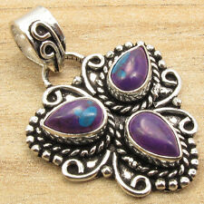 Handcrafted Pendant ! PURPLE COPPER TURQUOISE Silver Plated Jaipur India Jewelry