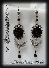 ^ V ^ pendiente * Rose & vampiros * LARP * Gothic * Earrings * bat murciélago * * pedrería * Black ^ V ^