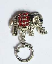 Sparkly Red Elephant  Magnetic ID Badge Holder, Eyeglass Holder, Reading Glasses