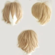 Fashion Short Straight Wig Cosplay Party Hair Wigs for Women Men Boy Linen Blond