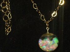 BEAUTIFUL FIERY GOLD FILLED FLOATING AUSTRALIAN OPALS NECKLACE PENDANT