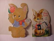Vintage 1940/50s HALLMARK EASTER Card Lot w/RABBITS: 1 Flocked,1 w/Concertina