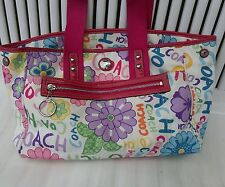 Coach Handbag Daisy Flower Tote F14880 White Purse Women's Authentic Pink RARE