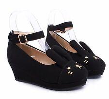 Black Cute Buckle Kids Girls Bunny Ears Wedge Heels Youth Dress Shoes Size 3