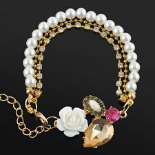 Pretty Betsey Johnson Rose Flower Drop Rhinestone Charm Pearl Crystal Bracelet