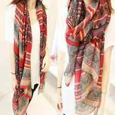Womens Long  Scarf Wrap Fashion Print Cotton Voile Shawl Large Scarves Stole Red
