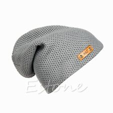 Men Ladies Knitted Winter Oversized Slouch Crochet Beanie Hat Rib Cap skateboard