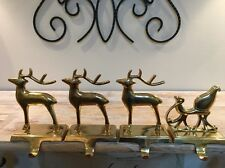 Set Of Four Pottery Barn Reindeer Stocking Holders Brass Three Reindeer Sleigh