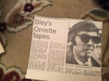 U1-6 ephemera 1971 article paul bley ornette coleman