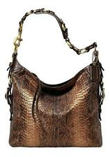 COACH LTD BLEECKER CHOCOLATE PRINTED PYTHON SLIM DUFFLE SHOULDER BAG PURSE RARE!