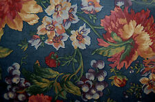 VINTAGE KING PILOW SHAMS SPRINGS French Country Fruit & Florals on Blue Back L13