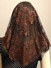 Brown Spanish style veils and mantilla Catholic church chapel lace -Large