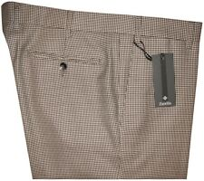 $495 ZANELLA PLATINUM BROWN CREAM HOUNDSTOOTH 150'S EXTRA SLIM FIT PANTS E 52 36