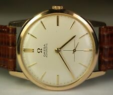 1958 Omega 32mm Gold Plated SS White 17j Cal. 490 Vintage Automatic Swiss Watch