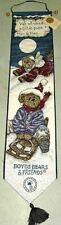 Boyds Bears Enjoy The Ride Christmas Tapestry Wall Hanging Bellpull
