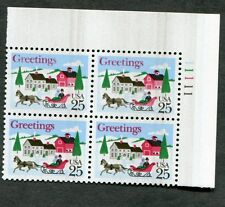 {BJ stamps} Error #2400 US 25  Christmas, plate, overall black ink smear.  1988