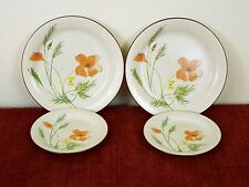 MIKASA WOODLAND POPPY 2 DINNER PLATE + 2 SALAD VERA STYLEMANOR FD 854 JAPAN