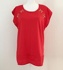NWT $70 Anne Klein Top Blouse Size L Red Gold Chains Cap Sleeves Relaxed Hi-Low