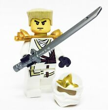 LEGO NINJAGO MINIFIGURE ZANE ZX GOLD ARMOR KATANA WHITE NINJA WITH HAIR AND HOOD