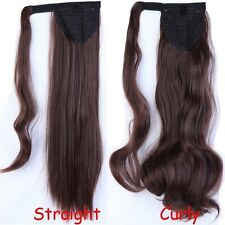 US real thick Wrap Around Ponytail Clip in Hair Extension black blonde brown G15