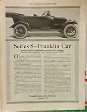 Vintage 1915 magazine ad for Franklin autos - Series 8 Touring Car, only 2675 lb