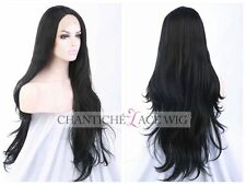 Natural Looking Synthetic Hair Wigs Black Long Wavy Lace Front Wig Heat Friendly