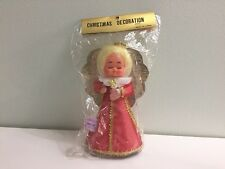"Vintage Japan 7"" Christmas Angel Tree Topper Top Blonde Gold Red Dress Kitschy"