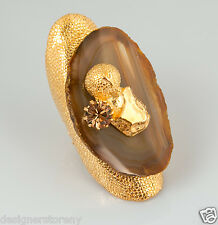 Yves Saint Laurent YSL Chyc agate and crystal ring size 5
