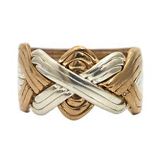 925k Sterling Silver and Bronze 8 Band Turkish Puzzle Ring - Sizes from 7 to 14