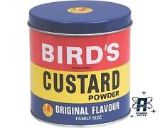 BIRDS CUSTARD POWDER RETRO KITCHEN CANISTER CONTAINER STORAGE TIN NEW